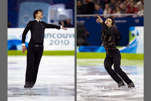 Patrick Chan (Canada) competing in the free programme (left) and the Short programme (right) of the men's Figure Skating competition of the 2010 Vancouver Winter Olympic Games.