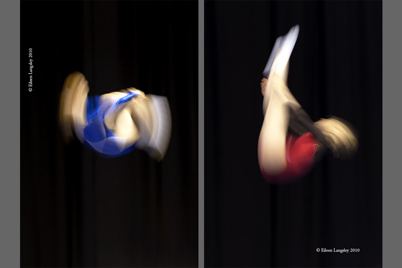 A generic blurred motion image of a female trampolinist performing a piked front somersault during her routine at the 2010 British Championships at the National Indoor Arean Biringham July 24th