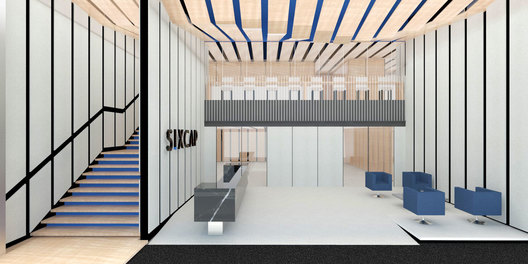 Hall design of a contemporary modern corporate image office interior in Singapore designed by Singapore's office designer, AND lab, for SIXCAP, a foreign exchange investment company .
