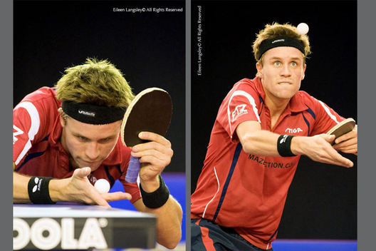 A double action image of Michael Maze (Denmark) at the 2009 English Open Table Tennis Championships at the English Institute of Sport, Sheffield, October 2009.