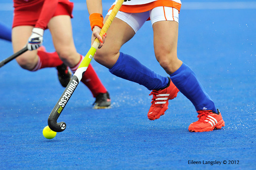 A generic image of a Dutch player on the attack during the Japan versus Netherlands Women's Hockey match at the 2012 London Olympic Games.