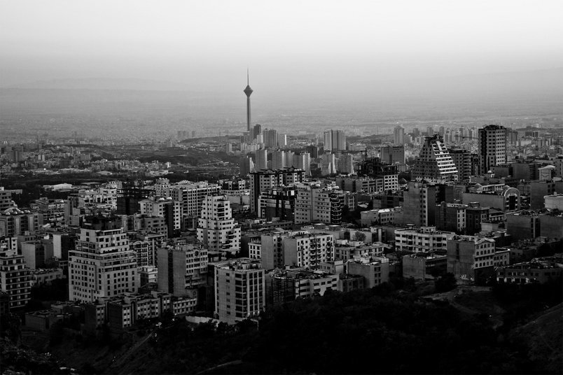 Black and white view of Tehran, the capital city of Iran.