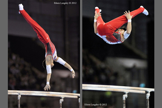 Yusuke Saito (Japan) competing on the Parallel Bars at the 2012 FIG World Cup in the Emirates Arena Glasgow December 8th