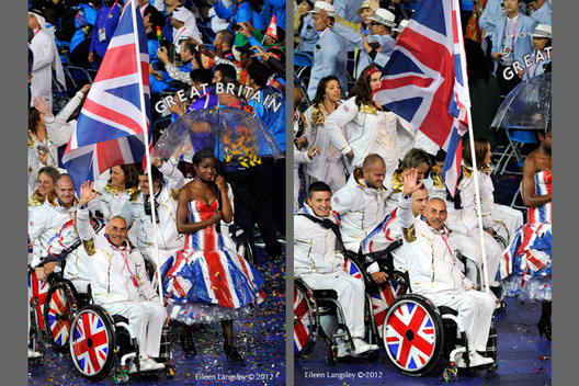 Led by flag bearer Peter Norfolk the British team enter the stadium during the parade in the Opening Ceremony of the London 2012 Paralympic Games.