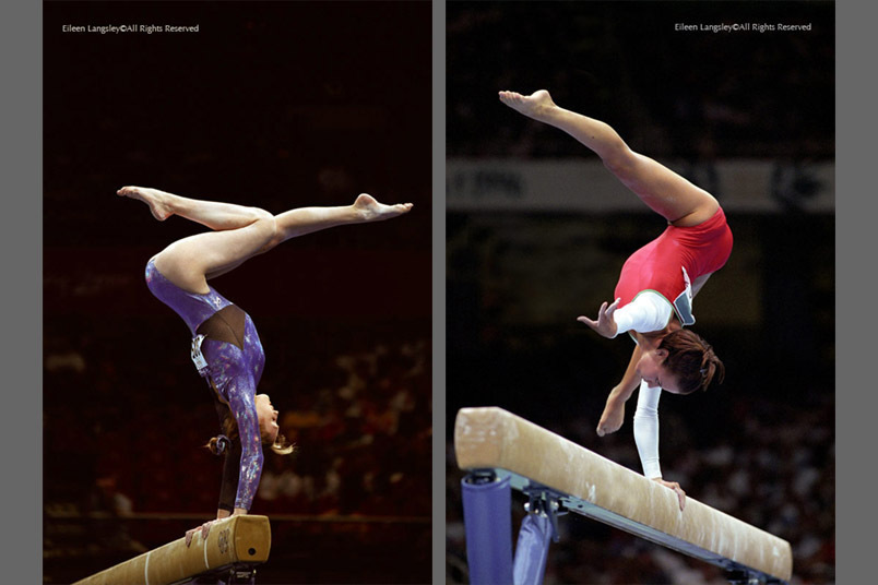 A double image of gymnasts Galina Tyryk (Ukraine) and Henrietta Onodi (Hungary) showing original versions of handstand balances on the Beam, at the Sydney 2000 and Atlanta 1996 Olympic Games.