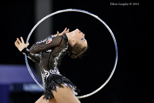 Frankie Jones (Wales) competing with Hoop during the Rhythmic Gymnastics competitions at the 2014 Glasgow Commonwealth Games.