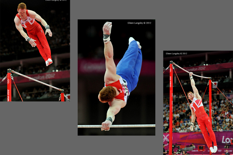 Daniel Purvis (Great Britain) competing on High Bar during the team final competition at the 2012 London Olympic Games.