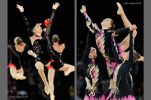 The groups from Ukraine (left) and Canada (right) in action at the World Rhythmic Gymnastics Championships in Montpellier.