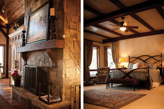 Rustic beams and a hand scraped mantle are among the wood finishes that trim out this mountain home.