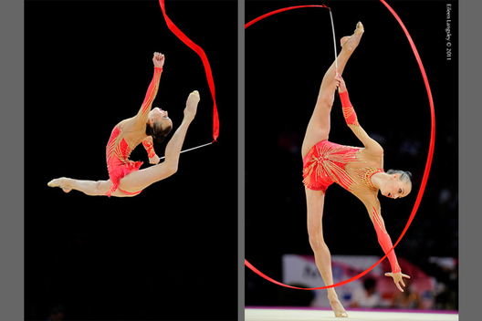 Ganna Rizatdinova (Ukraine) competing with Ribbon at the World Rhythmic Gymnastics Championships in Montpellier.