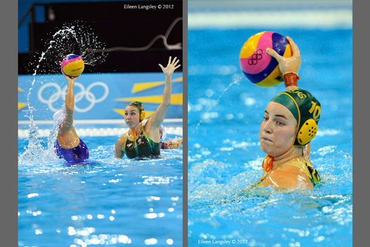 Jane Moran (Australia) tries to block a Russian shot at goal (left) and Ash Southern retaliates in their Water Polo match at the London 2012 Olympic Games.