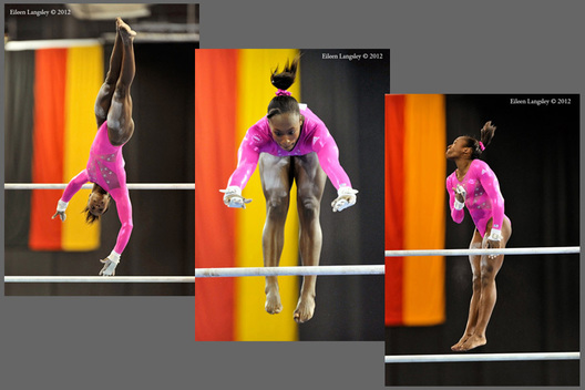 Elizabeth Price (USA) competing on asymmetric bars at the 2012 FIG World Cup in the Emirates Arena
