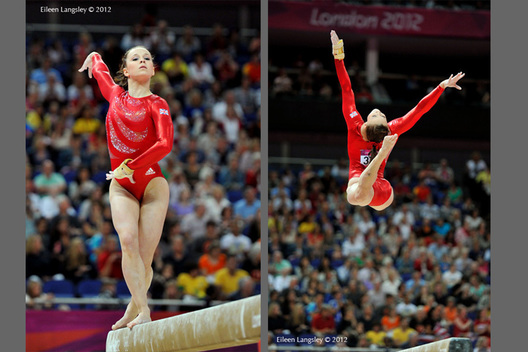 Hannah Whelan competing on Balance Beam at the Gymnastics competition of the London 2012 Olympic Games.