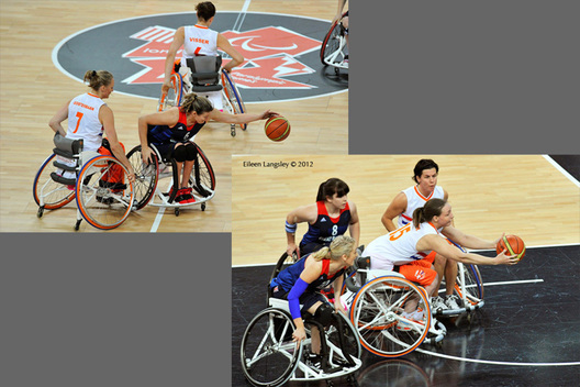 British captain Clare Strange gets to the ball ahead of Roos Oosterbaan (Netherlands) and Mariska Beijer turns the tables in their wheelchair basketball match at the London 2012 Paralympic Games.