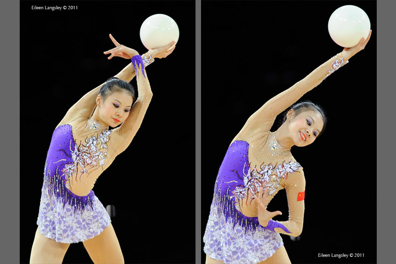 Senyue Deng (China) competing with Ball at the World Rhythmic Gymnastics Championships in Montpellier.