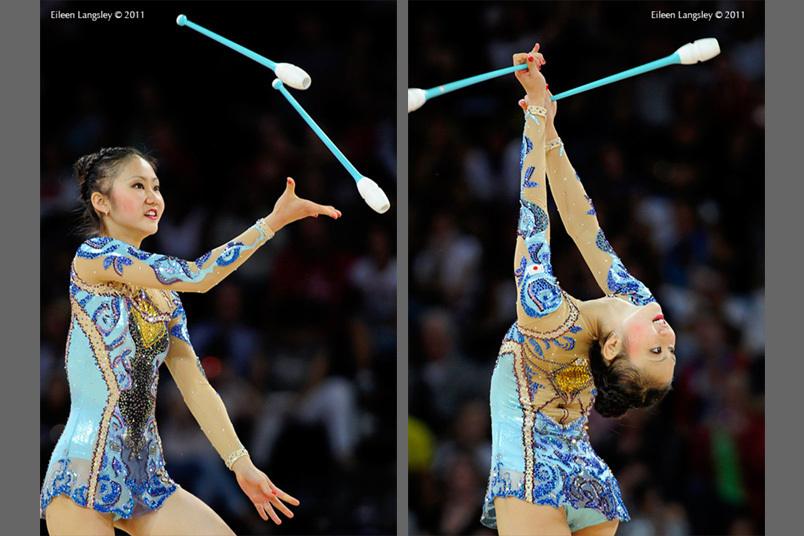 Runa Yamaguchi (Japan) competing with Clubs at the World Rhythmic Gymnastics Championships in Montpellier.