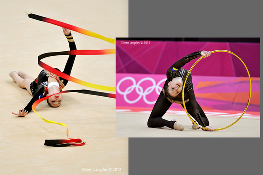 Alina Maksymenko (Ukraine) competing with Ribbon and Hoop during the Rhythmic Gymnastics competition at the 2012 London Olympic Games.