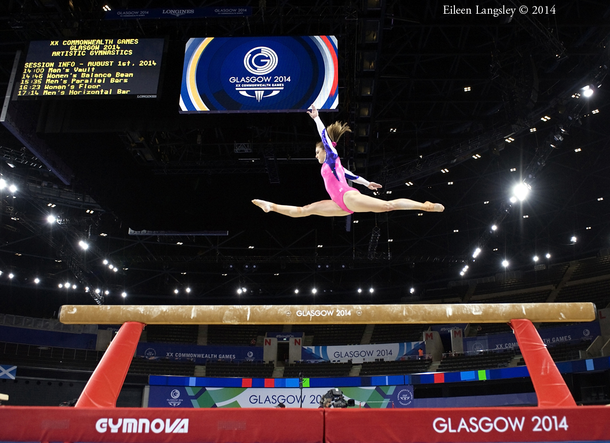Lauren Mitchell (Australia) competing on Balance Beam at the 2014 Glasgow Commonwealth Games.
