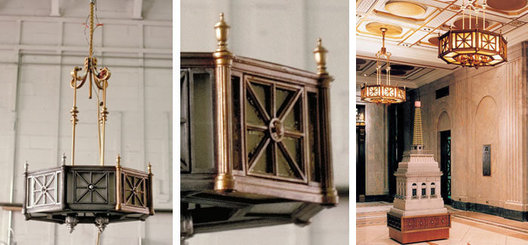 Restoration and reproduction of existing historical pendants and wall sconces. Architectural working model / recreation of iconic rooftop weather beacon for permanent display in lobby