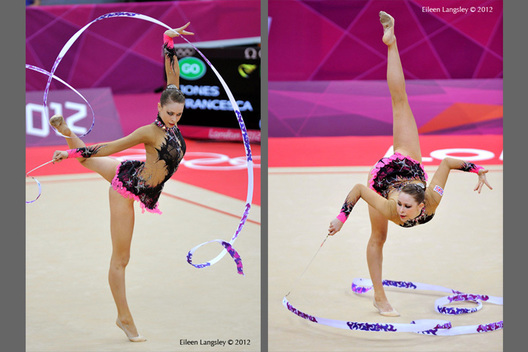Frankie Jones (Great Britain) competing with Ribbon during the Rhythmic Gymnastics competition of the London 2012 Olympic Games.