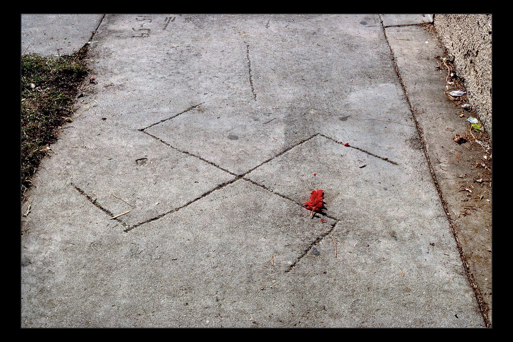 sidewalk swastika with flower, San Pedro