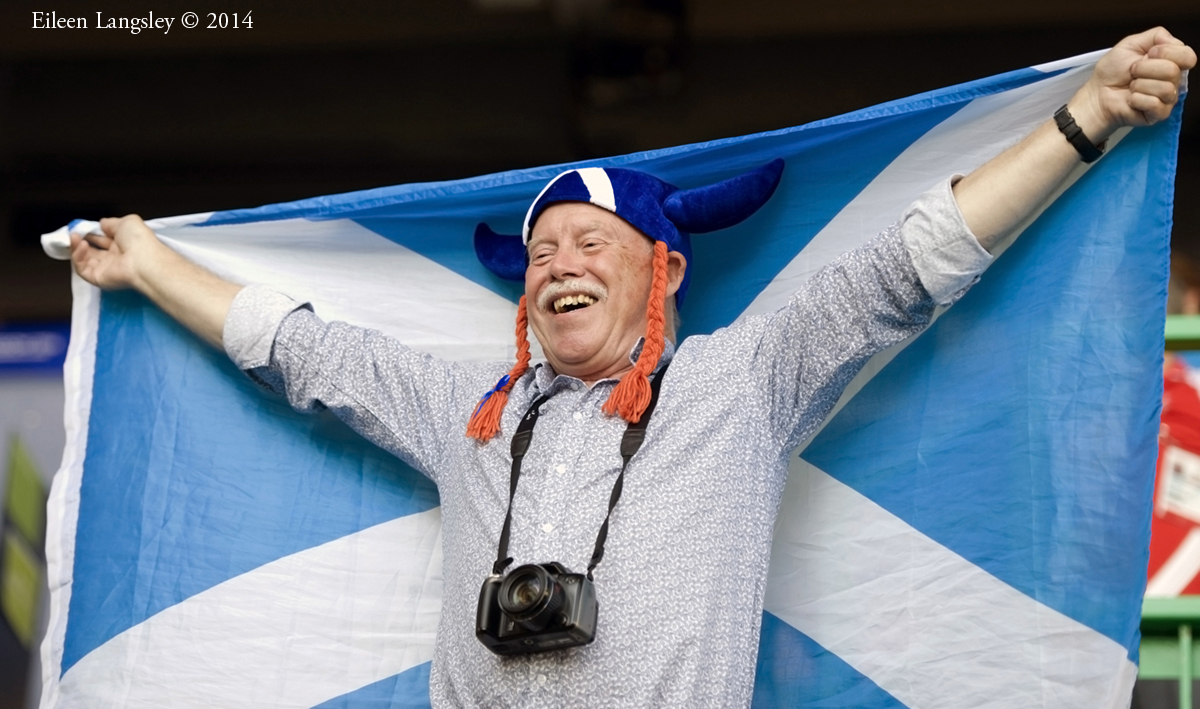 A Scottish supporter at the Opening Ceremony at the 2014 Glasgow Commonwealth Games .