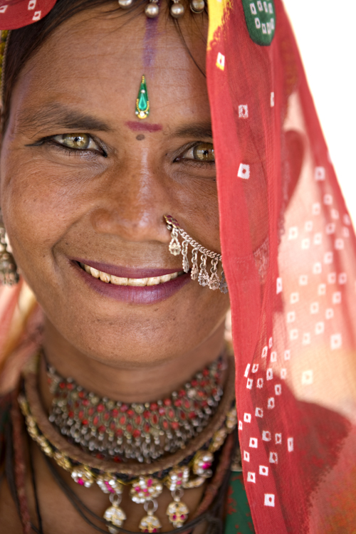 Portrait of Young Woman in Traditional Dress, Jaisalmer, Rajasthan, India, MR