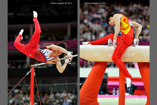 Kazuhitu Tanaka (Japan) left fails a move while competing on High Bar and Zou Kai (China) misses on Pommel Horse during the Men's Artistic Gymnastics competition at the 2012 London Olympic Games.