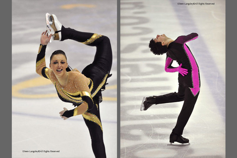A double image of British skating champions Jenna McCorkell left and David Richardson right, competing at the National Championships in Nottingham 2009.