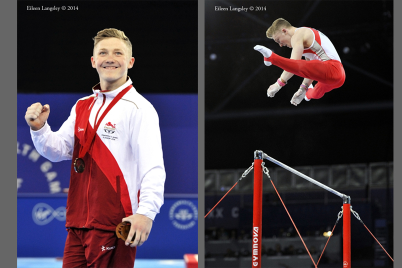 Nile Wilson (England) wins the gold medal on high bar at the Gymnastics competition of the 2014 Glasgow Commonwealth Games.