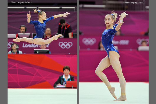 Victoria Komova (Russia) competes on floor exercise during the women's team competition at the 2012 London Olympic Games.