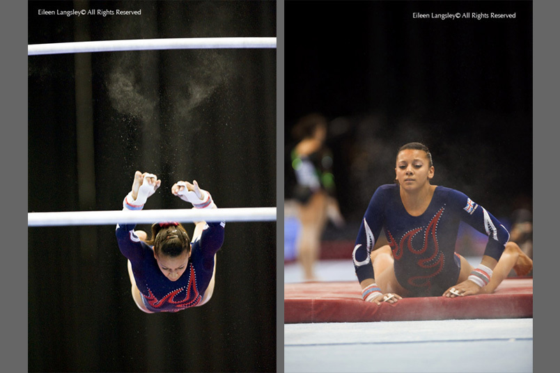 A double image of Becky Downie (Great Britain) missing an aerial move on the high bar and landing on the safety mat while competing on asymmetric bars at the 2010 European Gymnastics Championships in Birmingham