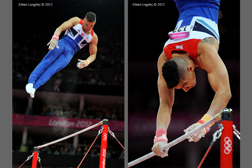 Louis Smith (Great Britain) competing on High Bar during the apparatus final competition at the 2012 London Olympic Games.