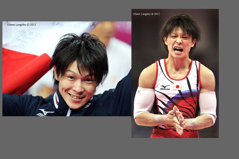 The mixed emotions of Kohei Uchimura (Japan) winner of the all around Gold Medal in the men's gymnastics competition celebrates at the 2012 London Olympic Games.