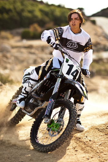 Golf pro Rickie Fowler photographed riding his dirt bike outside Los Angeles, California for Golf Digest magazine.