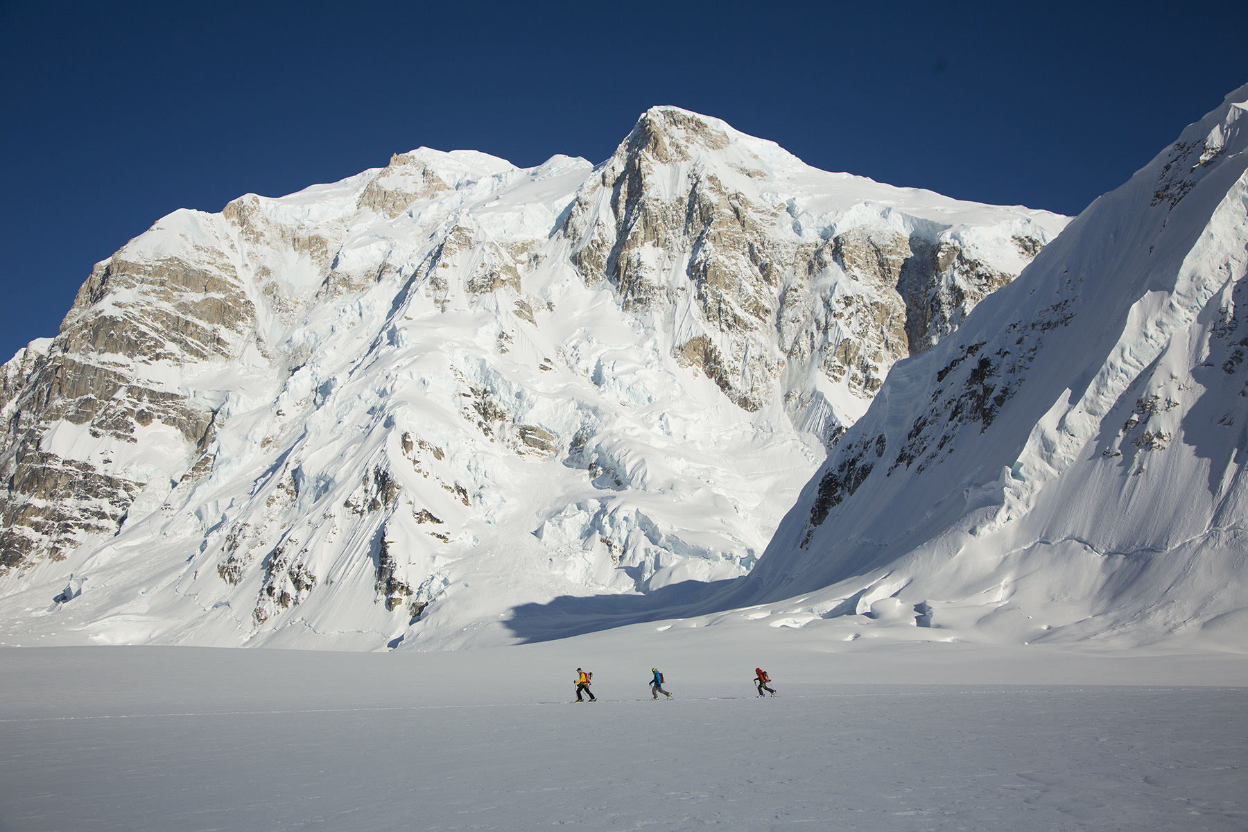 Ian McIntosh, John Collinson, Angel Collinson, Kahiltna Glacier and Mt. Hunter, Denail National Park, Alaska