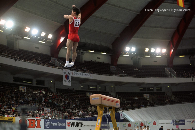 You Ok Youl (South Korea) shows amazing height and distance off the vault at the Dortmund World Gymnastics Championships