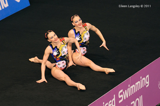 Natalia Ischenko and Svetlana Romashina (Russian Federation) pose at the start of their duet routine at the 2011 European Synchro Champions Cup at the Ponds Forge International Sports Centre.