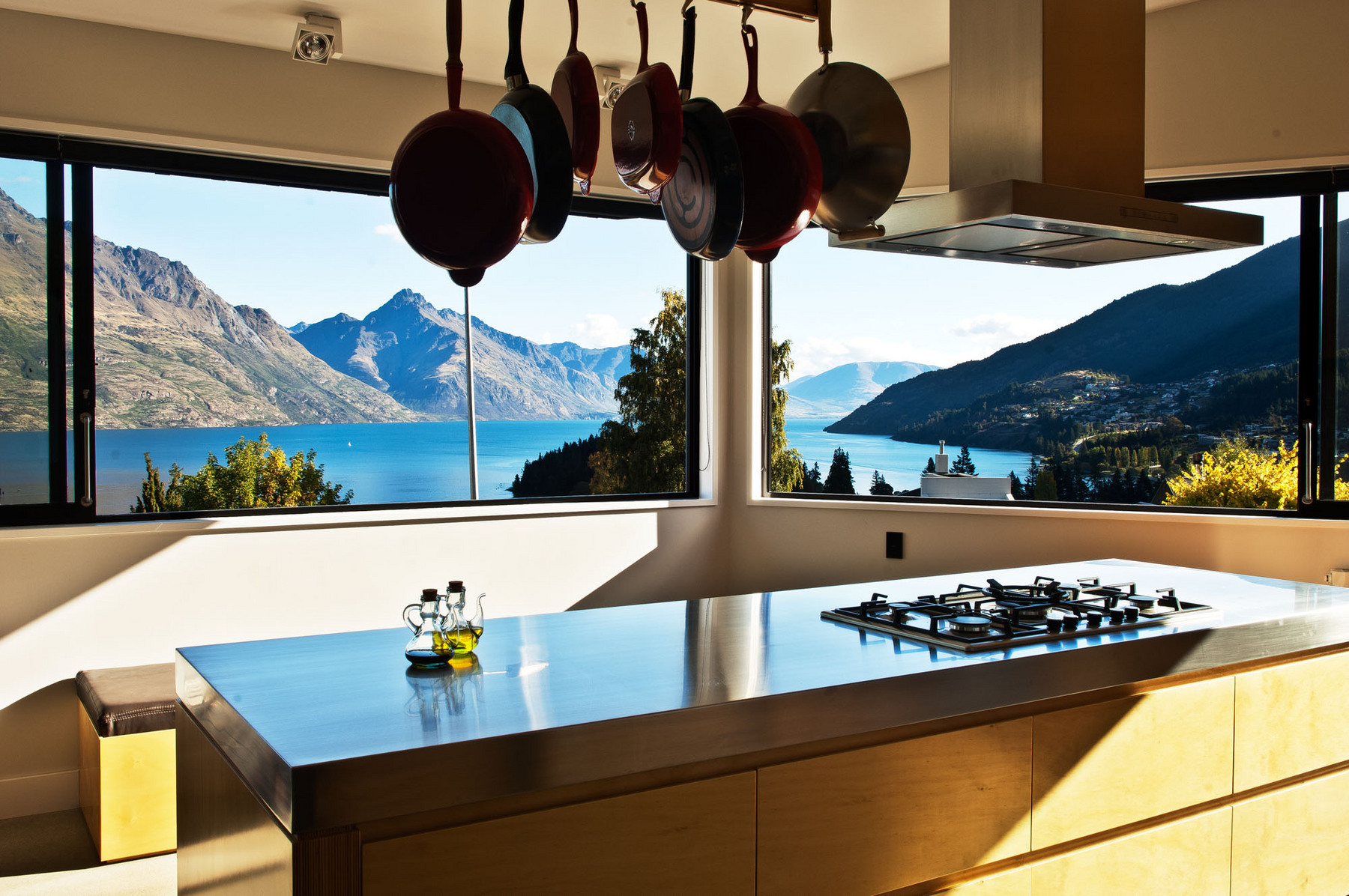 The kitchen captures outstanding views while also maintaining privacy from the street