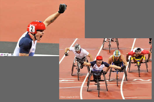 David Weir (Great Britain) celebrates winning the 5000 metres T54 during the Athletic competition at the London 2012 Paralympic Games.