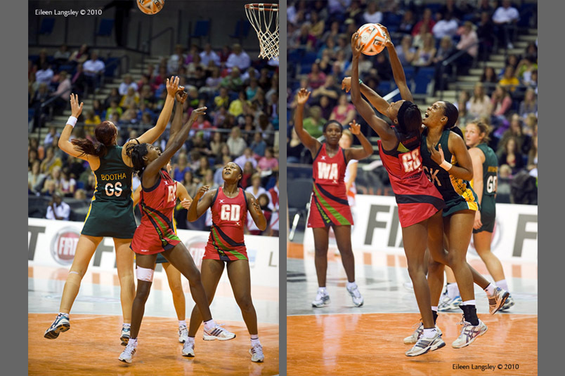 A double action image of all out effort from the players during the Malawi versus South Africa Match at the 2010 World Series Netball Championships in Liverpool.