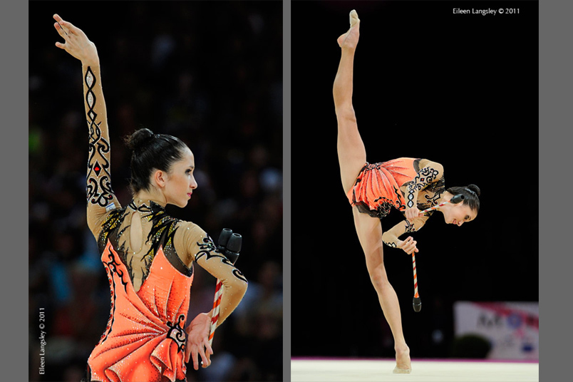 Neta Rivkin (Israel) competing with Clubs at the World Rhythmic Gymnastics Championships in Montpellier.