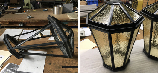 Restoration of damaged original outdoor lanterns and recreation of duplicate lanterns