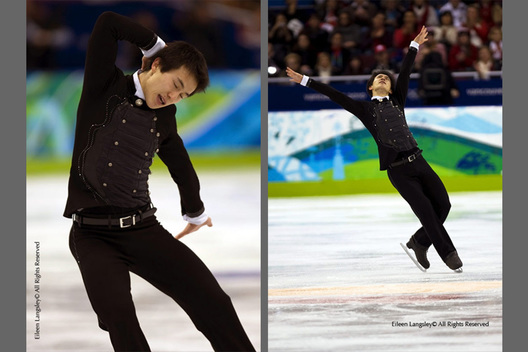 Patrick Chan (Canada) competing in the free programme of the men's Figure Skating competition of the 2010 Vancouver Winter Olympic Games.