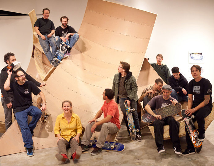 Skaters, artists and curator Cynthia Connolly on the piece after the session.