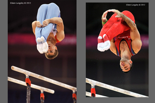 Max Whitlock and Danell Leyva (USA) perform double piked somersault dismounts from Parallel Bars during the mens competition of the Gymnastics event at the 2012 London Olympic Games.