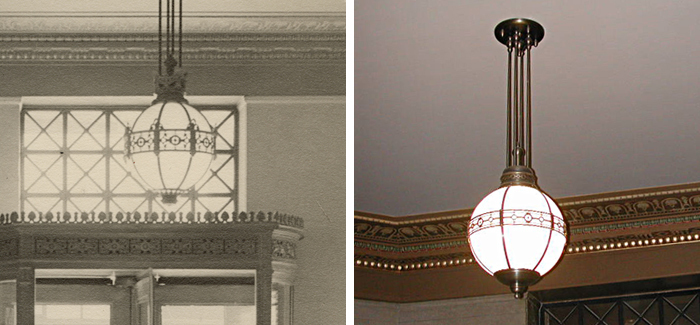 Recreation of original solid brass and opal glass pendant for main entrance