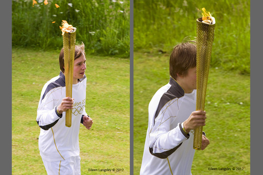 Local youth Ben Hope carries the Olympic Torch and Flame in the gardens of Chatsworth House in Derbyshire during the Torch Relay.