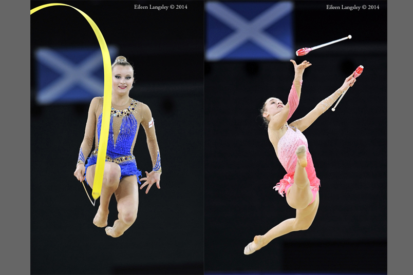 Stephani Sherlock (England) and Amy Quinn (Australia) compete with exuberance the Rhythmic Gymnastics event at the 2014 Glasgow Commonwealth Games.