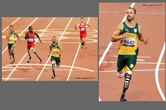 Oscar Pistorius (South Africa) comes in second in the final of the 200 metres T44 event then comes back to win the gold in the 400 metres in the Athletic competition at the London 2012 Paralympic Games.